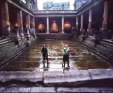 Roman baths. Cleaning Great bath