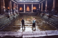 Roman baths. Cleaning Great bath